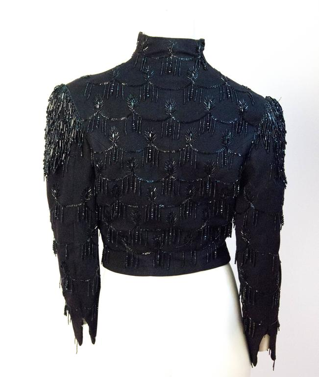 Victorian Black Wool jacket with Jet Bead Embellishment & Beaded Fringe Shoulder In Excellent Condition For Sale In San Francisco, CA