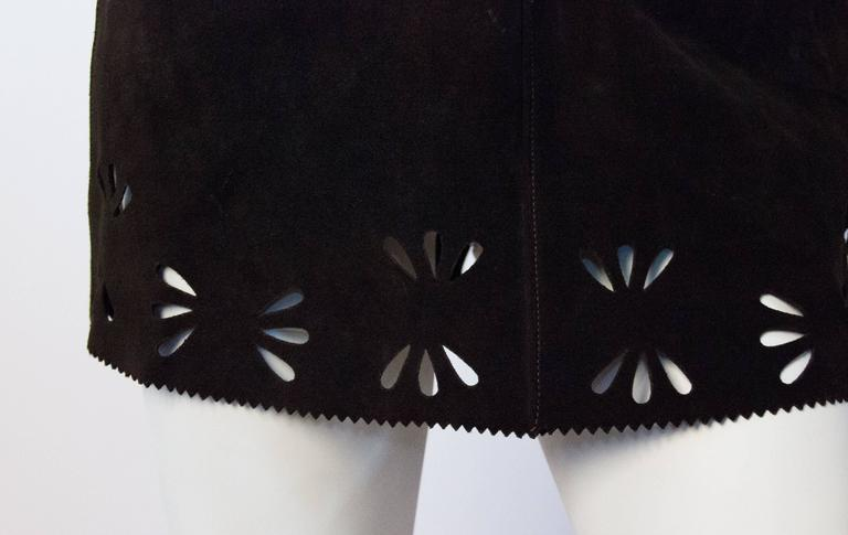 60s Brown Suede Mini Skirt with Cut Outs  2