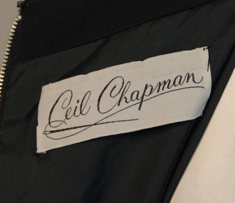 70s Ceil Chapman Black Silk Jersey Dress with Rhinestone Embellishment  In Excellent Condition For Sale In San Francisco, CA