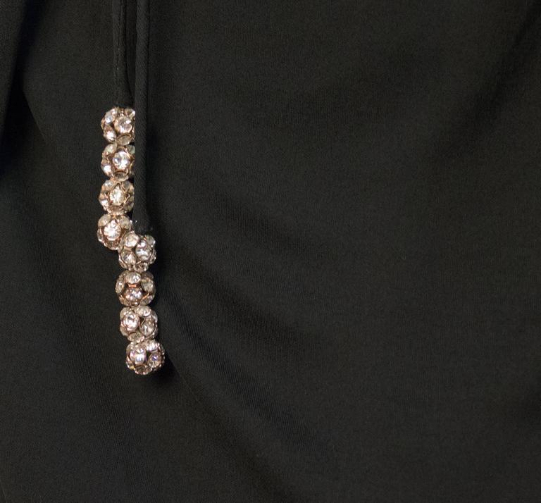 Women's 70s Ceil Chapman Black Silk Jersey Dress with Rhinestone Embellishment  For Sale