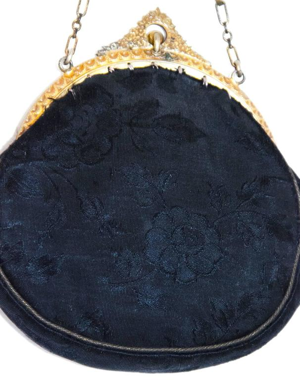Edwardian Black Jacquard Pouch with Blue Glass Embellishments in Frame  In Good Condition For Sale In San Francisco, CA