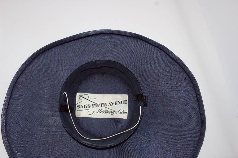 50s Navy Blue Woven Straw Wide Brim Hat with Fruit Adornment  4