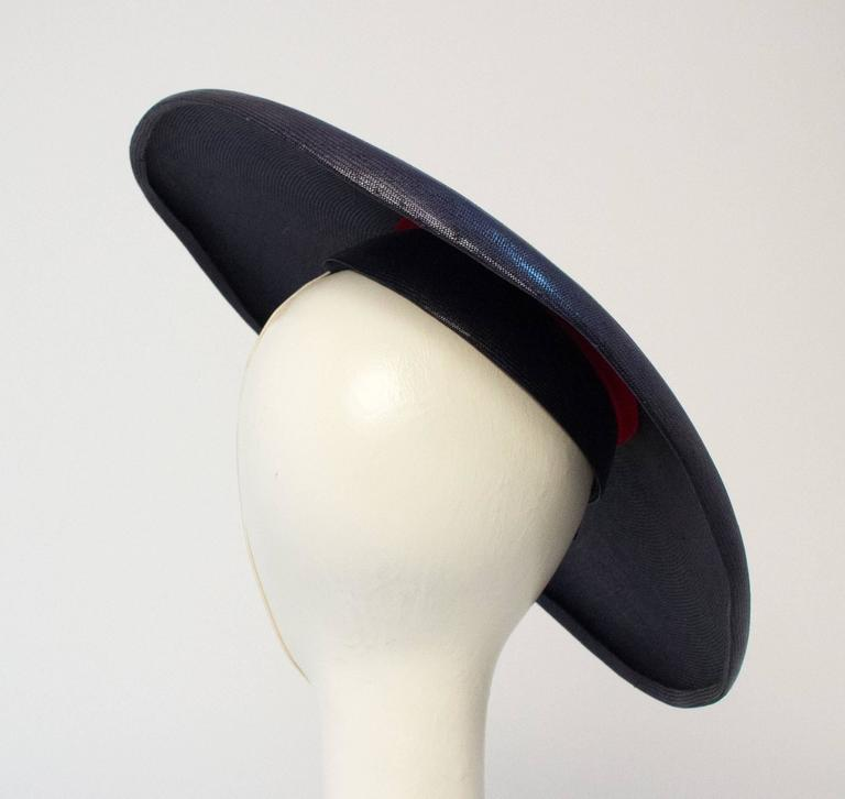 50s Navy Blue Woven Straw Wide Brim Hat with Fruit Adornment  3