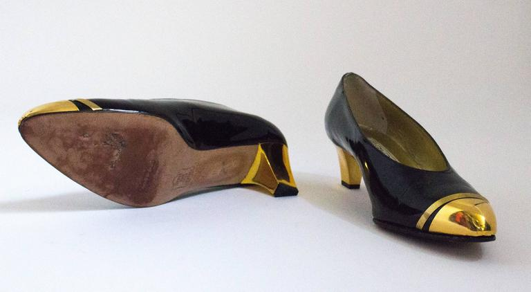 80s Black Patent Leather Heels with Gold Toe Caps ad Heels 4