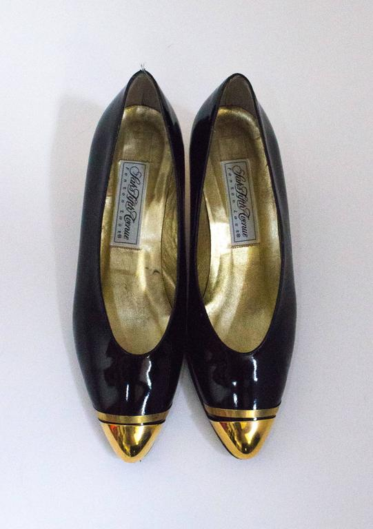80s Black Patent Leather Heels with Gold Toe Caps ad Heels 3