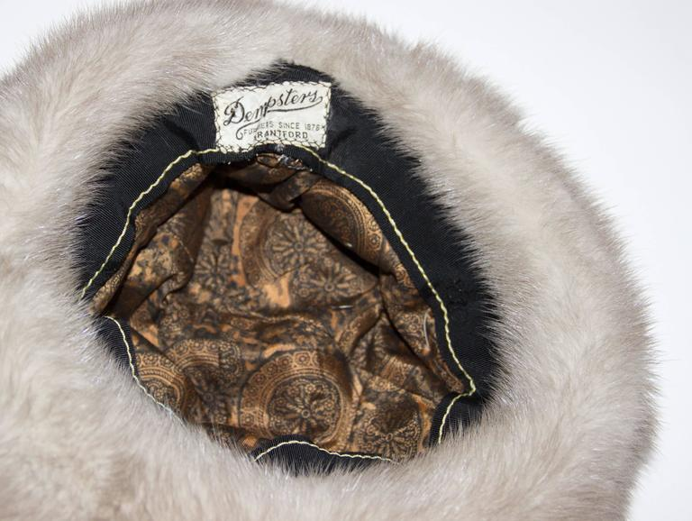60s Grey Mink Hat  In Excellent Condition For Sale In San Francisco, CA