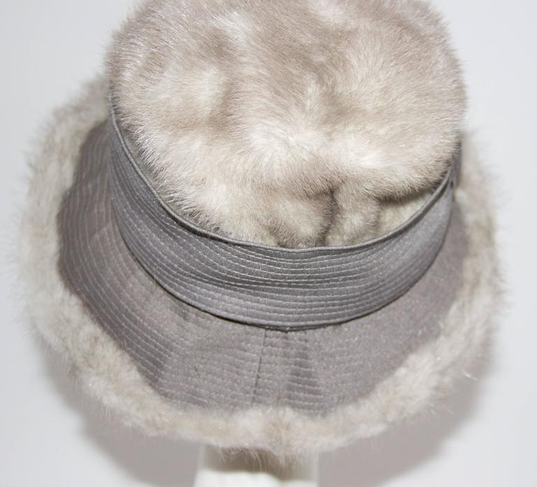 Gray 60s Grey Mink Hat  For Sale