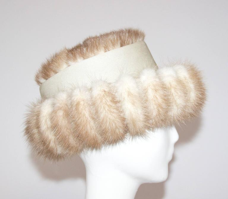 60s Blonde Coffee Mink Hat. Wire frame along brim for shaping.   21 1/2 circumference