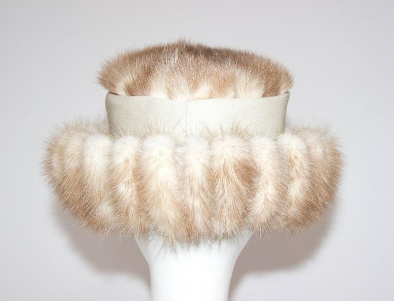 Beige 60s Blonde Coffee Mink Hat  For Sale
