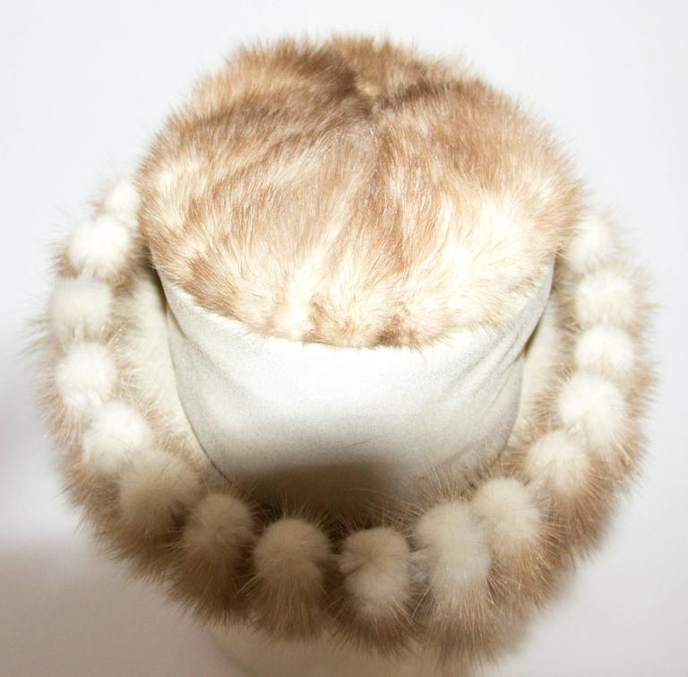 Women's 60s Blonde Coffee Mink Hat  For Sale