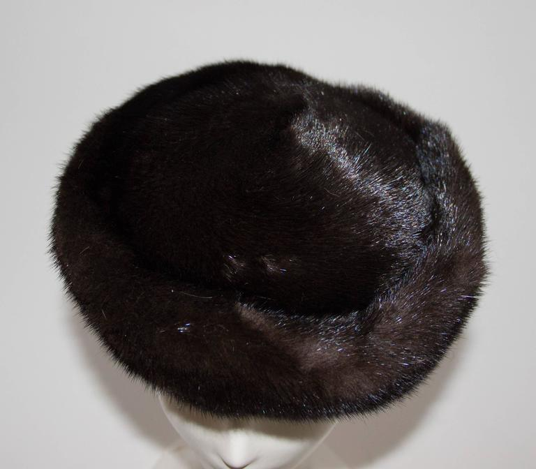 Gray 60s Chocolate Brown Mink Pillbox  For Sale