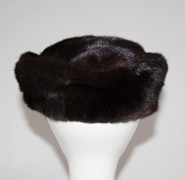 60s Chocolate Brown Mink Pillbox  In Excellent Condition For Sale In San Francisco, CA