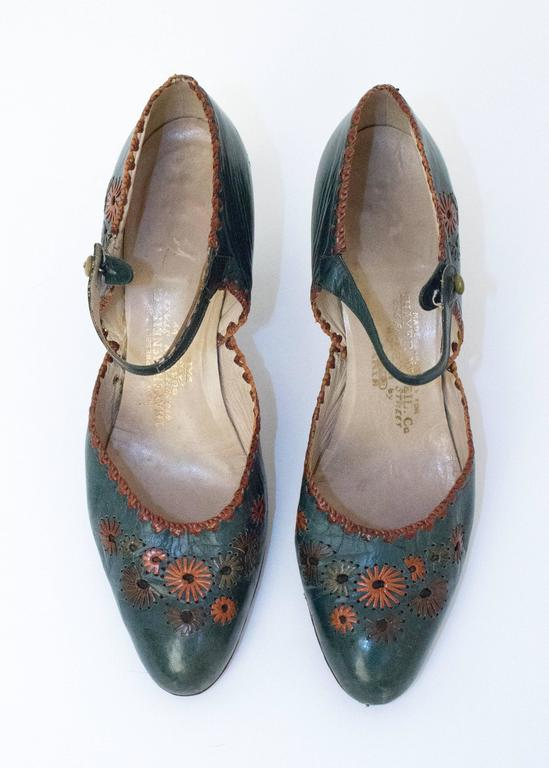 20s Green Leather Mary Jane Heels with Floral Embellishments  2