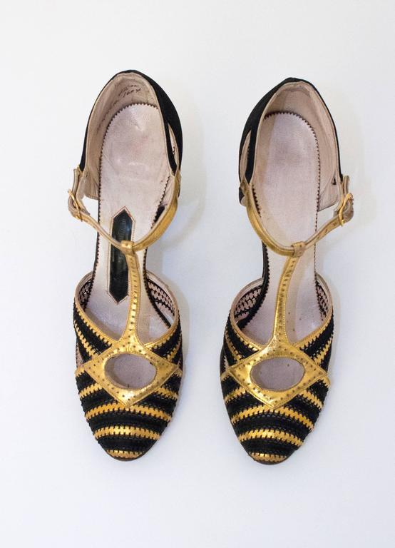 20s Black & Gold Lamé T-Strap Heels 2