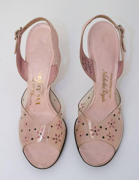 50s Pink Lucite Heels with Floral Painted Embellishment  2