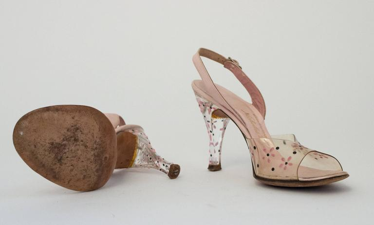 50s Pink Lucite Heels with Floral Painted Embellishment  3