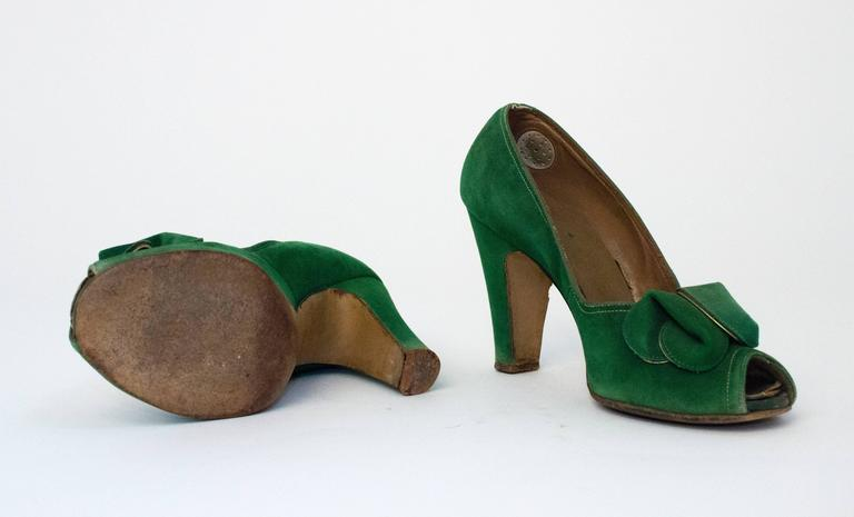 Black 30s Paradise Shoes Green suede Heels For Sale