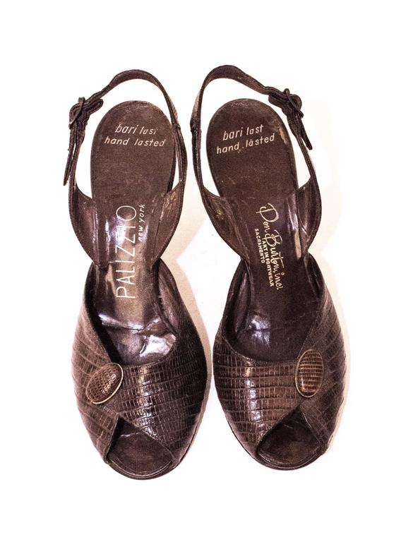 50s Reptile Sling Back Peep-toe Heels. Leather soles. 