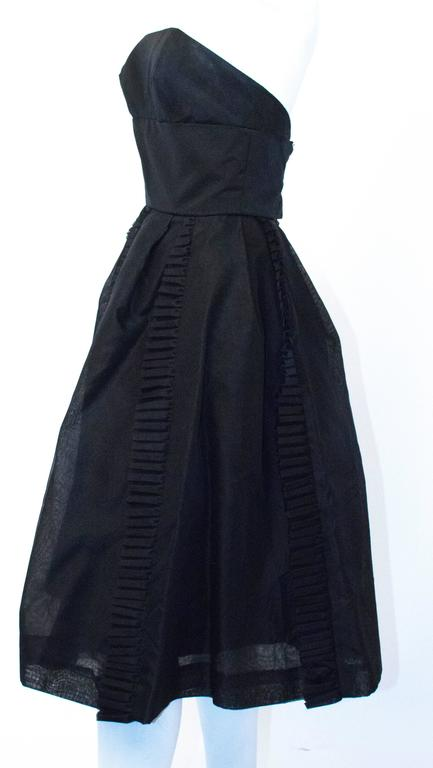50s Black Jeunes Filles Organza Dress with Scarf 3