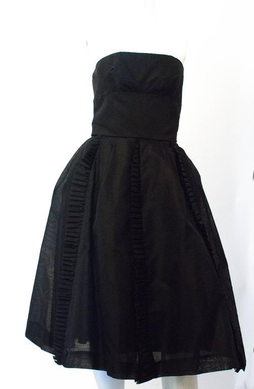 50s Black Jeunes Filles Organza Dress with Scarf 2