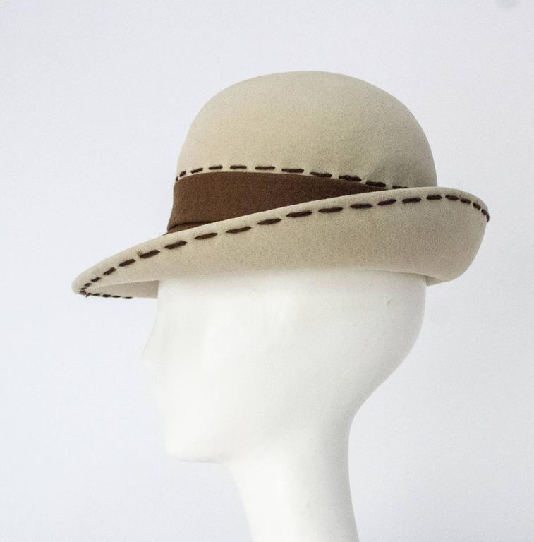 80s Brown and Cream Christian Dior Hat 2