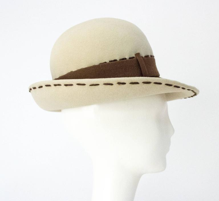 80s Brown and Cream Christian Dior Hat 4
