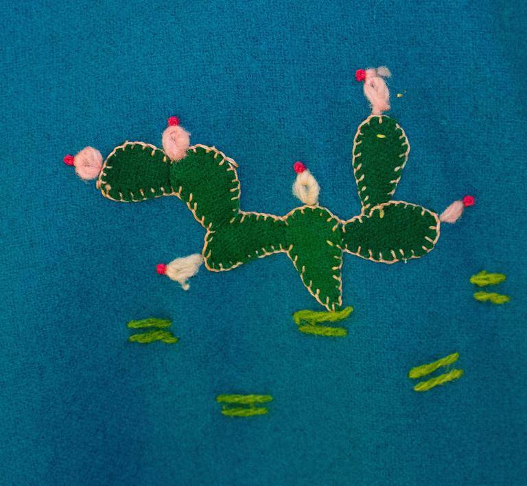 40s / 50s Teal Mexican Embroidered Jacket  4