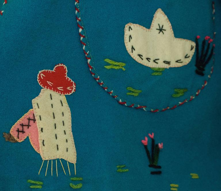 40s / 50s Teal Mexican Embroidered Jacket  5