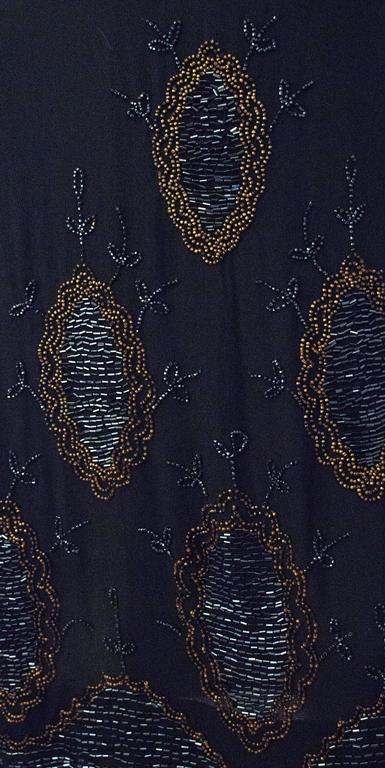 89d3db3d35 Women s 20s Black Silk Drop Waist Dress with Gold   Green Beading For Sale