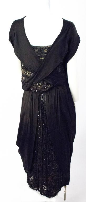 Edwardian Black Silk Evening Gown with Silver Lamé Lace & Beading 3