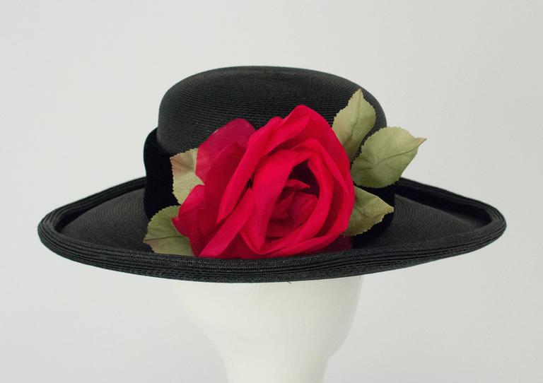 80s Christian Dior Black Straw Wide Brim Hat with Velvet Trim and Red Rose 4