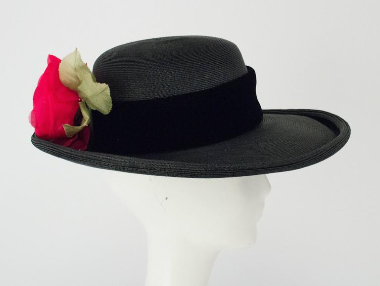 80s Christian Dior Black Straw Wide Brim Hat with Velvet Trim and Red Rose 3