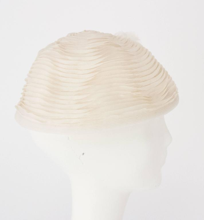 Women's 50s Schiaparelli White Organza & Horsehair Hat with Flower Adornment  For Sale