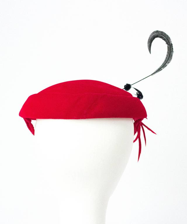 50s Red Velvet Cocktail Hat Adorned with Gems and Feathers 3