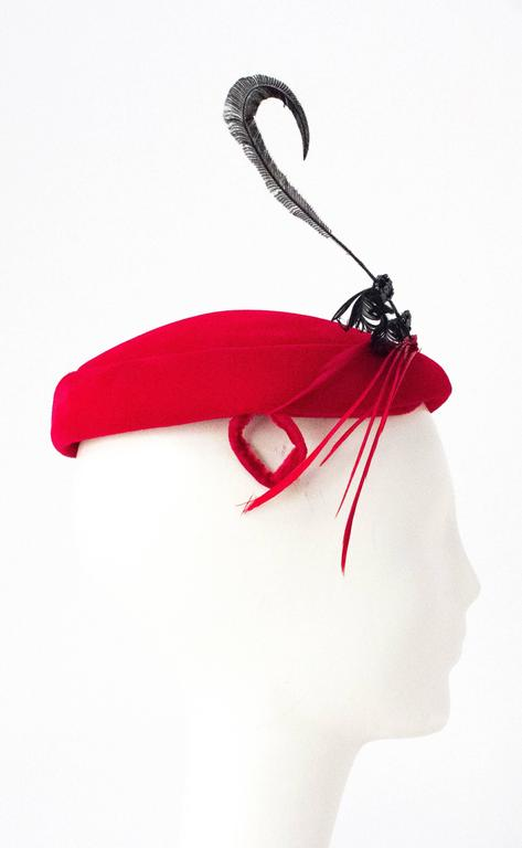 50s Red Velvet Cocktail Hat Adorned with Gems and Feathers 2