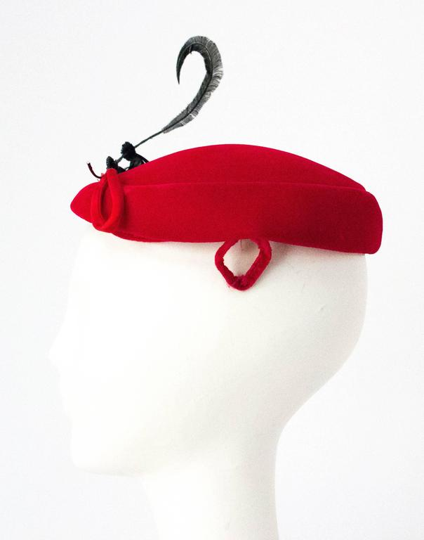 50s Red Velvet Cocktail Hat Adorned with Gems and Feathers 4