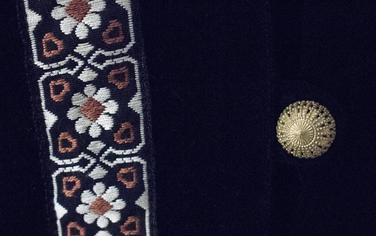 Black 70s Jay Morley for Fern Violette Tapestry Dress For Sale