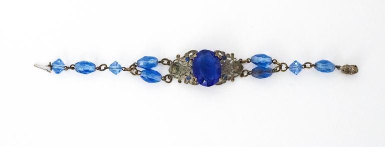 20s Blue Glass Art Nouveau Bracelet  3