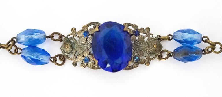 20s Blue Glass Art Nouveau Bracelet  2