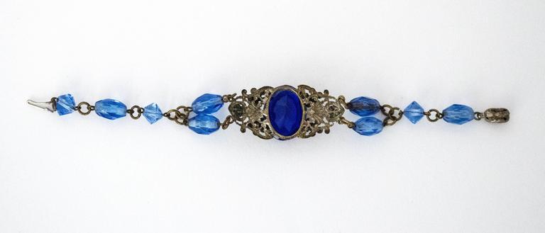 20s Blue Glass Art Nouveau Bracelet  5