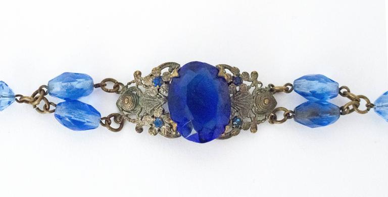 20s Blue Glass Art Nouveau Bracelet  4
