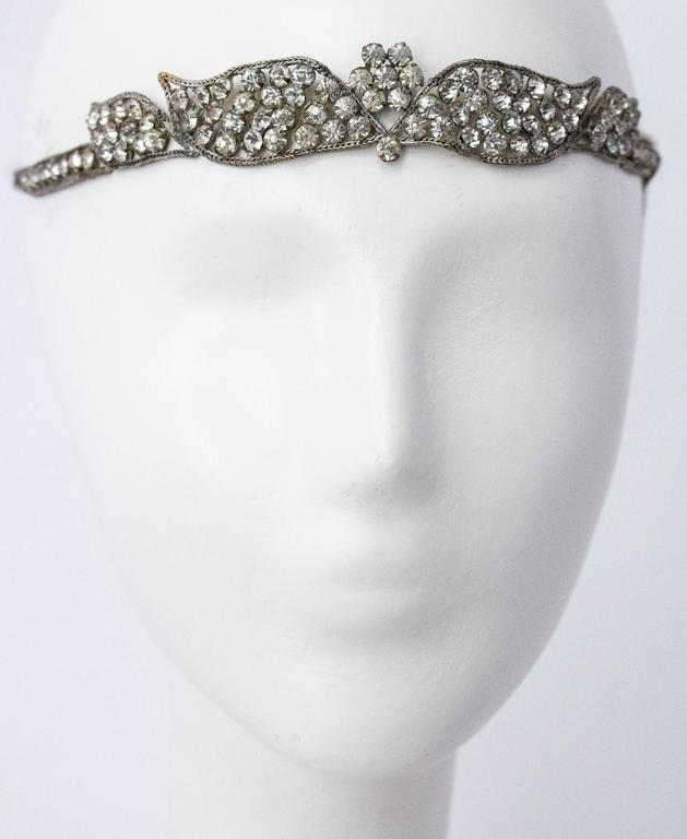 20s Flapper Headpiece Headdress Embellished with Crystals and Silver Lamé  2