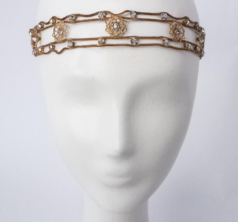 20s Flapper Headband Crystal Gold Lamé  2