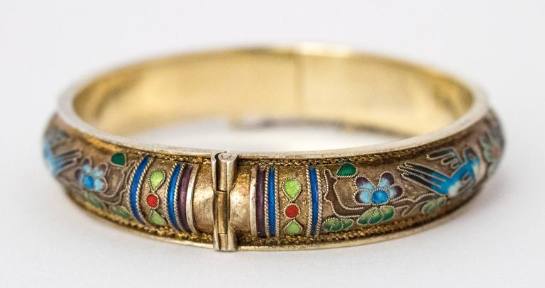 Women's 50s Champleve Silver Bangle with a Gold Wash, Enamel Blue Birds & Flowers For Sale