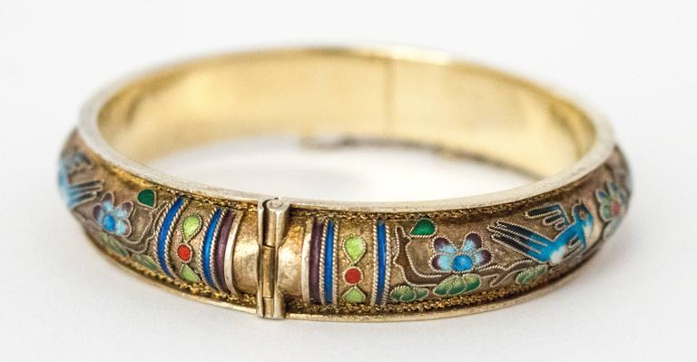 50s Champleve Silver Bangle with a Gold Wash, Enamel Blue Birds & Flowers For Sale 1