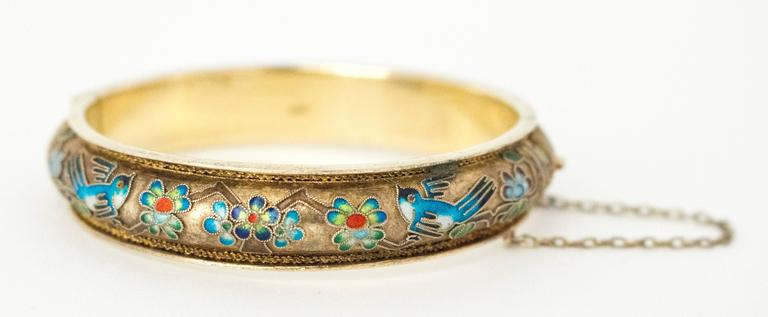 50s Champleve Silver Bangle with a Gold Wash, Enamel Blue Birds & Flowers For Sale 2