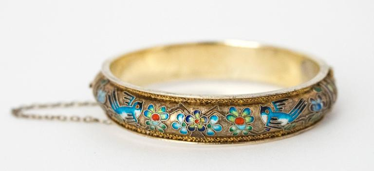 50s Champleve Silver Bangle with a Gold Wash, Enamel Blue Birds & Flowers.