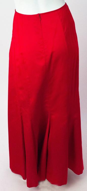 90s Melinda Eng Red Silk Skirt. 100% Silk Satin.