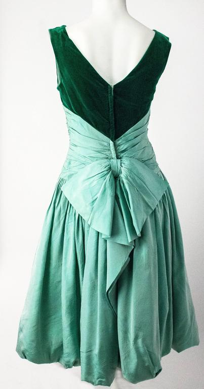 50s Green Velvet Taffeta Dress with Bubble Hem 2