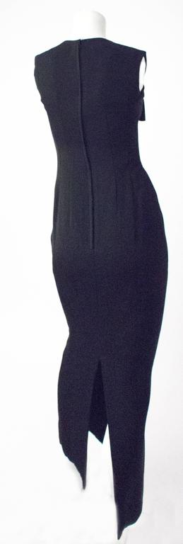 60s Black Bow Joseph Magnin Column Dress In Excellent Condition For Sale In San Francisco, CA